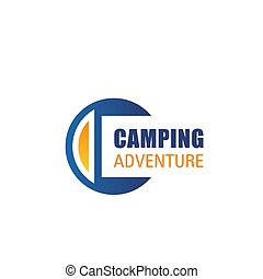 Vector C letter icon for camping adventure