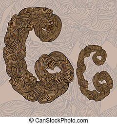 """vector """"C"""" letter of oak tree wooden texture on seamless wooden background"""