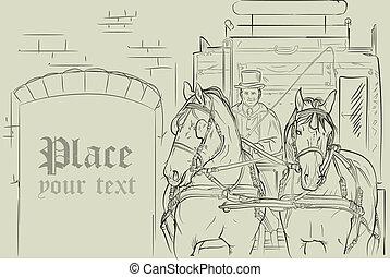 vector, caballos, en, carruaje
