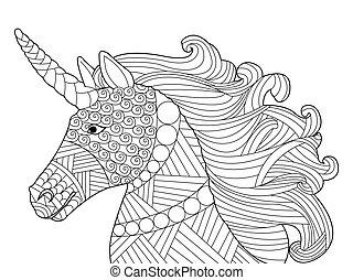 vector, cabeza, colorido, adultos, unicornio