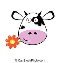 vector, cabeza, flor, ilustración, vaca