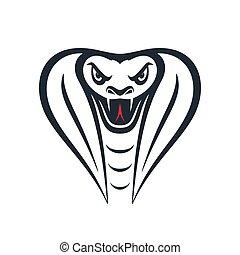 vector, cabeza, furioso, ilustración, cobra