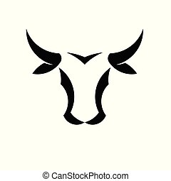 vector, cabeza, resumen, logotipo, toro, simple