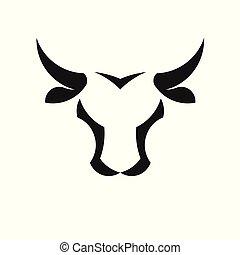 vector, cabeza, resumen, logotipo, toro, simple