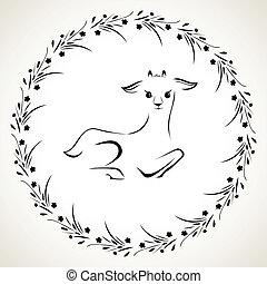 vector, cabras, ilustración
