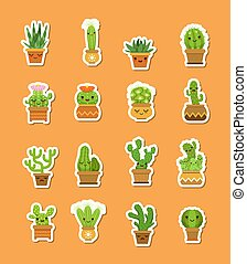 Vector cacti in pots flat style stickers