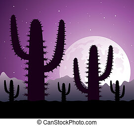 vector cactus in desert at night