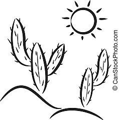 vector cactus in desert clip-art