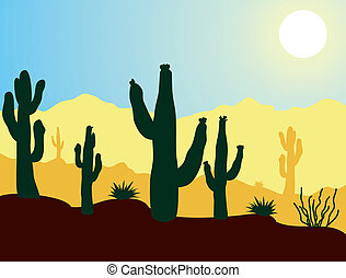 vector cactus plants and mountains in desert