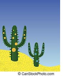 cactuses in desert - vector cactuses in desert