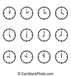 vector, cada, reloj, hora, exposición