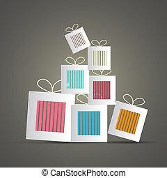 vector, cadeau, abstract, dozen, papier, retro