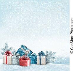 vector., cadeau, boxes., achtergrond, vakantie, grens, ...
