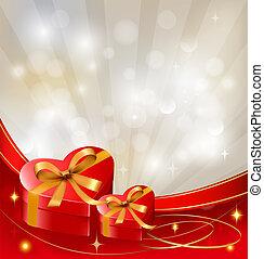 vector., cadeau, petite amie, arc, boîtes, fond, ribbons., jour, rouges