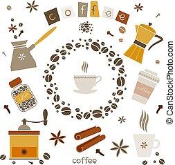 vector, café, elementos, diseño, colección