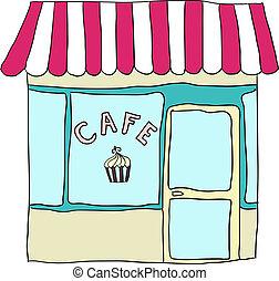 vector, café, lindo, ilustrado, calle