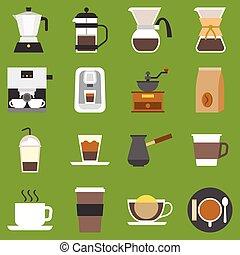 vector, café, método, y, tipo, de, co