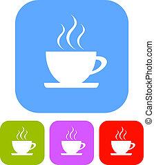 vector, café, señal