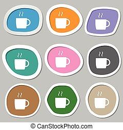 vector, café, symbols., multicolor, papel, stickers., icono