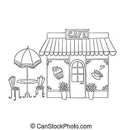 vector, cafe., caricatura, ilustración, calle
