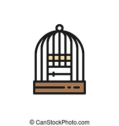 Vector cage for birds flat color icon.