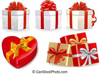 vector, cajas, conjunto, regalo, colorido