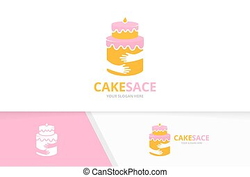 Vector cake and hands logo combination. Pie and hug symbol or icon. Unique cupcake and embrace logotype design template.