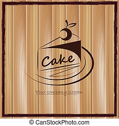 vector cake icon on the wood background.