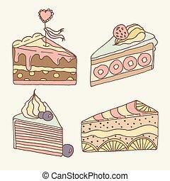 Vector cake illustration. Set of 4 hand drawn cakes.