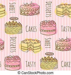 Vector cake illustration. Set of 4 hand drawn cakes with colorful watercolor splashes. Seamless pattern.