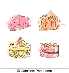 Vector cake illustration. Set of hand drawn cakes with colorful watercolor splashes. Desserts with cream and berries.