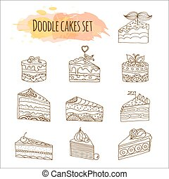 Vector cake illustration. Set of hand drawn cute cakes. Doodle cakes with cream and berries.