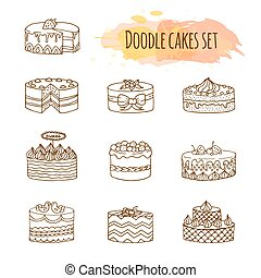 Vector cake illustration. Set of hand drawn cute cakes.