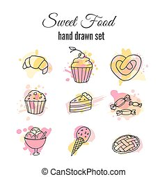 Vector cake illustration. Set of hand drawn sweets with colorful watercolor splashes. Cupcakes with cream and berries