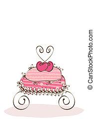 vector cake - vector sweet pink cake
