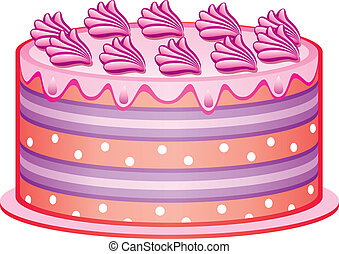 vector cake - vector delicious cake with cream