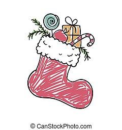vector, calcetín, navidad