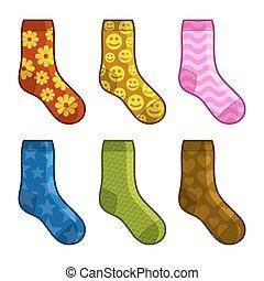 vector, calcetines, patterns., color, conjunto, diferente