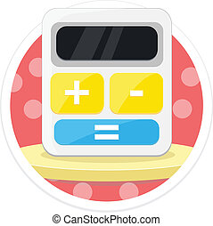 Vector Calculator Flat Round Icon