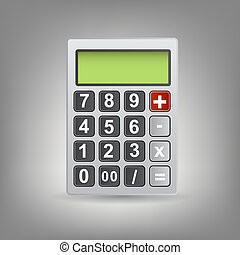 Vector calculator icon with gray buttons