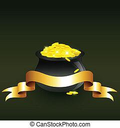vector, caldero, lleno, de, monedas de oro