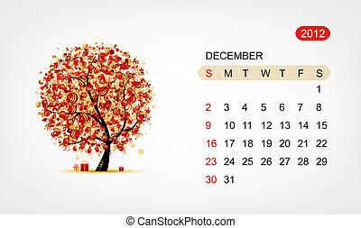 Vector calendar 2012, december. Art tree design