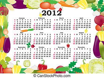 vector calendar 2012 in colorful frame