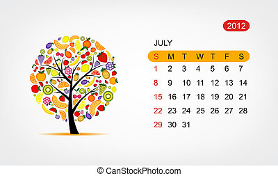 Vector calendar 2012, july. Art tree design