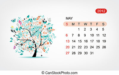 Vector calendar 2012, may. Art tree design