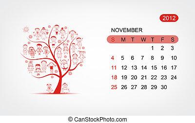 Vector calendar 2012, november. Art tree design
