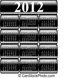 vector calendar 2012 on buttons - vector calendar 2012 on ...