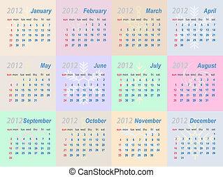 Vector calendar 2012 (week starts on Sunday)