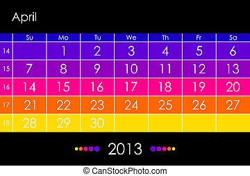 Vector calendar 2013 - April