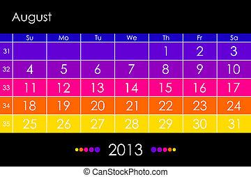 Vector calendar 2013 - August